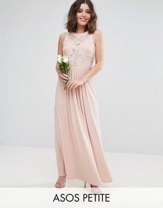 Платье макси с кружевным топом и плиссировкой ASOS PETITE WEDDING - Розовый