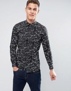 Рубашка с мраморным принтом Jack & Jones - Черный