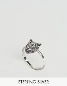 Серебряное кольцо с головой волка ASOS - Серебряный