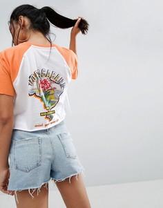 Свободная футболка с контрастными рукавами реглан и принтом ASOS - Мульти