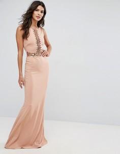 Платье макси с отделкой пайетками City Goddess - Бежевый
