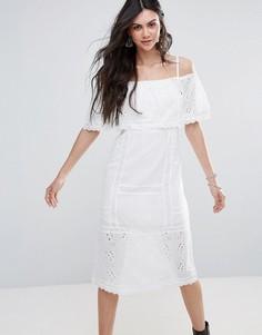 Платье-миди с открытыми плечами Free People - Белый