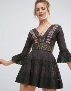Платье мини с кружевными вставками Free People Antiquity - Черный
