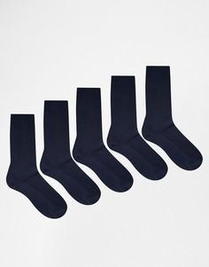5 пар темно-синих носков из вафельного трикотажа ASOS - Темно-синий