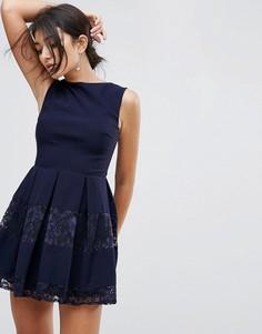 Короткое приталенное платье с кружевными вставками City Goddess - Темно-синий
