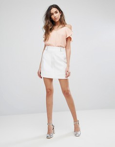 Мини-юбка с люверсами New Look - Белый