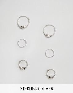 Три пары серебряных серег-колец Fashionology - Серебряный