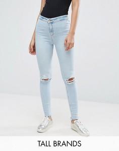 Зауженные джинсы с рваными коленями New Look Tall - Синий