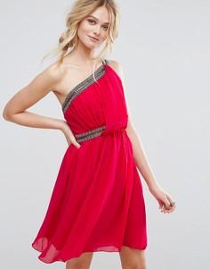 Декорированное платье для выпускного на одно плечо Little Mistress - Розовый