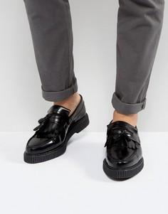 Черные кожаные лоферы с толстой подошвой ASOS - Черный