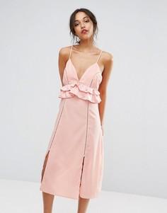 Платье миди с оборками Boohoo - Розовый
