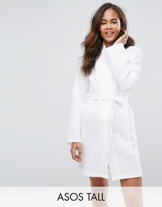 Вафельный халат из 100% хлопка ASOS TALL - Белый