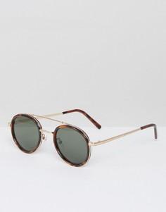 Солнцезащитные очки в круглой черепаховой оправе AJ Morgan Cocktail - Коричневый