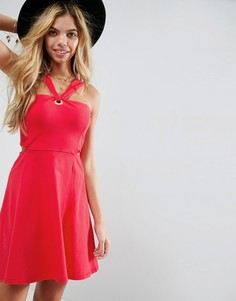 Платье мини с вырезами и люверсом ASOS - Красный
