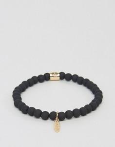 Золотистый узкий браслет с пером Chained & Able - Золотой
