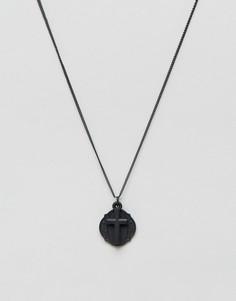 Черное ожерелье с крестом Chained & Able - Черный
