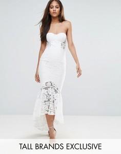 Кружевное платье-бандо миди Jarlo Tall - Белый