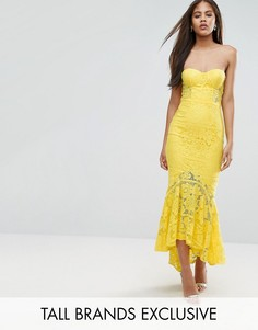 Кружевное платье-бандо миди Jarlo Tall - Желтый
