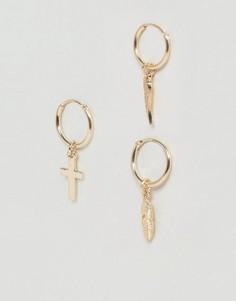 Серьги-кольца с подвесками Chained & Able - Золотой