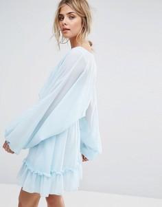 Платье мини с пышными рукавами Boohoo - Синий