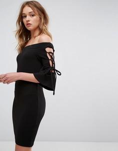 Облегающее платье с открытыми плечами Parisian - Черный