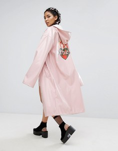 Лакированный удлиненный макинтош с принтом на спине Jaded London - Розовый