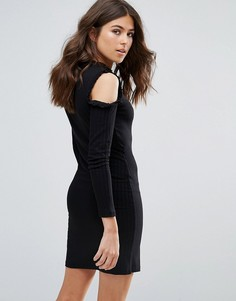 Платье с открытыми плечами и оборками Only Ripsi - Черный
