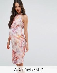 Платье-футляр миди с мраморным принтом и двойными бретелями ASOS Maternity - Мульти
