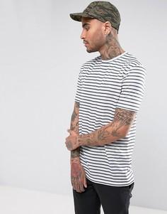 Длинная футболка в полоску из имитирующей лен ткани ASOS - Белый