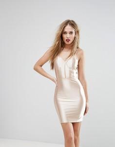 Блестящее облегающее платье с корсетной отделкой NaaNaa - Золотой