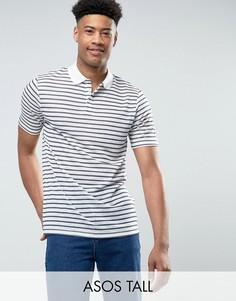 Свободная футболка-поло в полоску из имитирующей лен ткани ASOS TALL - Белый