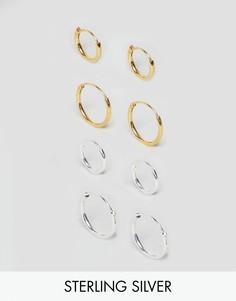 Серебряные серьги-кольца с покрытием ASOS - Серебряный