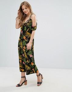 Платье с тропическим принтом и открытыми плечами Vero Moda - Мульти