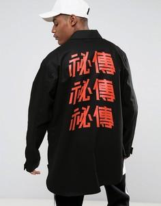 Черная куртка в стиле милитари с принтом на спине и декоративными лентами Visionair - Черный