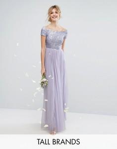 Платье макси с открытыми плечами, отделкой пайетками и юбкой из тюля Maya Tall - Фиолетовый