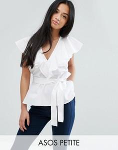 Хлопковая блузка с оборкой спереди и поясом ASOS PETITE - Белый
