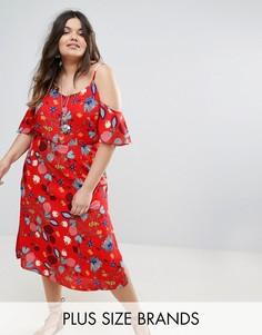 Чайное платье с вырезами на плечах и цветочным принтом Alice & You - Мульти