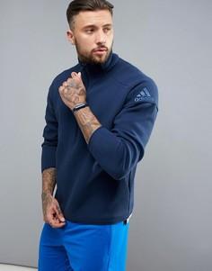 Синий свитшот на молнии Adidas ZNE - Синий