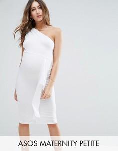 Платье миди на одно плечо с оборкой сбоку ASOS Maternity PETITE - Белый