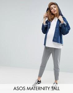 Меланжевые спортивные брюки с боковыми молниями ASOS Maternity TALL - Серый