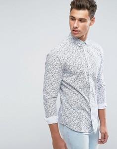 Рубашка зауженного кроя с цветочным принтом Only & Sons - Белый