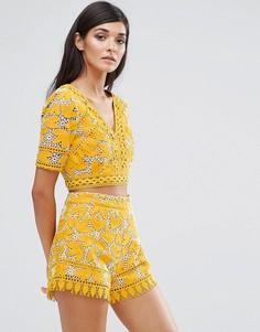 Укороченная кружевная блузка с V-образным вырезом Aijek - Желтый