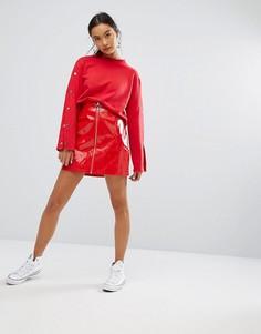Мини-юбка в рубчик с молнией спереди Daisy Street - Красный