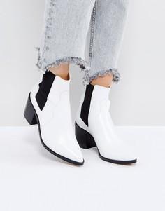 Кожаные ботинки челси ASOS REWIND - Белый