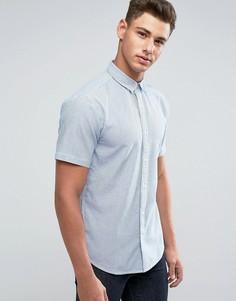 Узкая оксфордская рубашка в полоску с короткими рукавами Only & Sons - Темно-синий