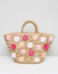 Плетеная сумка с помпонами Ted Baker - Мульти