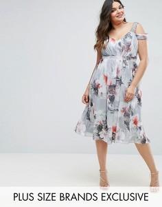 Платье миди с открытыми плечами и цветочным принтом Little Mistress Plus - Мульти