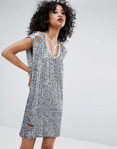 Состаренное платье с отделкой Religion - Серебряный