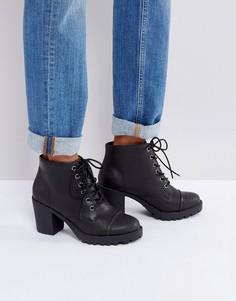 Ботильоны на каблуке со шнуровкой London Rebel - Черный