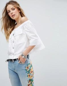 Блузка с открытыми плечами Free People - Белый